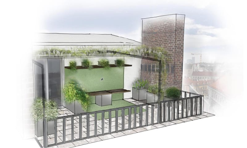 GartenZauner Ansicht Dachterrasse Dachterrasse