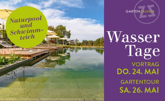 Wassertage bei GartenZauner Naturpool Biopool Schwimmteich Schwimmteiche Vortrag Gartentour GartenZauner Garten Oberösterreich Mühlviertel